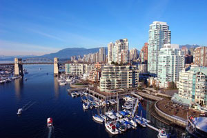 A marina in downtown Vancouver, British Columbia on a clear day