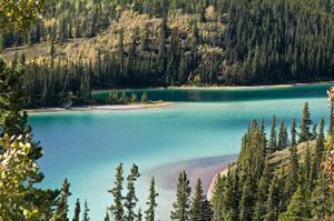 Emerald Lake in Yukon, Canada on a beautiful summer day